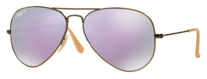 Ray Ban RB3025 Aviator Large Metal Brushed Bronze Demi Shiny with Polarized Grey Mirror Lilac Lenses