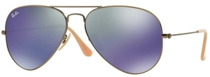 Ray Ban RB3025 Aviator Large Metal Demiglos Brushed Bronze w/ Blue Mirror Lenses 167/68