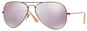 Ray Ban RB3025 Aviator Large Metal Demiglos Brushed Bronze w/ Lilac Mirror Lenses