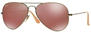 Ray Ban RB3025 Aviator Large Metal Demiglos Brushed Bronze w/ Red Mirror Lenses 167/2K