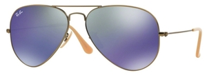 Ray Ban RB3025 Aviator Large Metal Demigloss Brushed Bronze with Crystal Bronze/Blue Mirror Lenses