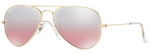 Ray Ban RB3025 Aviator Large Metal Gold w/ Crys. Brown-Pink Silver Mirror Lenses