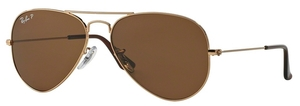 Ray Ban RB3025 Aviator Large Metal Gold w/ Crystal Brown Polarized Lenses