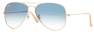 Ray Ban RB3025 Aviator Large Metal Gold w/ Crystal Gradient Light Blue Lenses