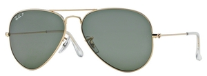 Ray Ban RB3025 Aviator Large Metal Gold w/ Crystal Green Polarized Lenses