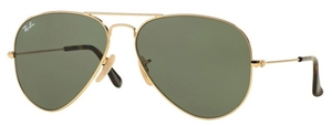 Ray Ban RB3025 Aviator Large Metal Gold with Crystal Dark Green Lenses