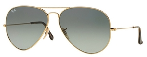 Ray Ban RB3025 Aviator Large Metal Gold with Crystal Light Grey Gradient Dark Grey Lenses