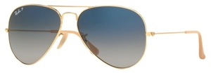 Ray Ban RB3025 Aviator Large Metal Gold with Polarized Crystal Gradient Blue Lenses