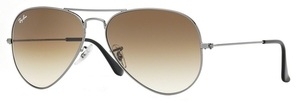 Ray Ban RB3025 Aviator Large Metal Gunmetal w/ Crystal Brown Gradient Lenses