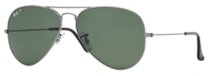 Ray Ban RB3025 Aviator Large Metal Gunmetal w/ Crystal Green POLARIZED Lenses