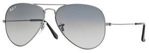 Ray Ban RB3025 Aviator Large Metal Gunmetal w/ Crystal POLAR Blue Grad.Grey Lenses