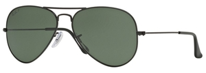 Ray Ban RB3025 Aviator Large Metal Matte Black with Polarized Green Lenses