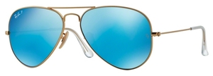 Ray Ban RB3025 Aviator Large Metal Matte Gold w/ Blue Mirror POLAR Lenses