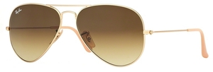 Ray Ban RB3025 Aviator Large Metal Matte Gold w/ Brown Gradient Lenses