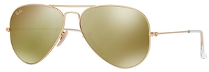 Ray Ban RB3025 Aviator Large Metal Matte Gold w/ Brown Mirror Gold Lenses