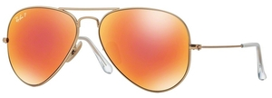 Ray Ban RB3025 Aviator Large Metal Matte Gold w/ Brown Mirror Red POLAR Lenses