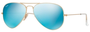 Ray Ban RB3025 Aviator Large Metal Matte Gold w/ Cry.Green Mirror Multi.Light Blue Lenses