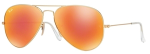 Ray Ban RB3025 Aviator Large Metal Matte Gold w/ Crystal Brown Mirror Orange Lenses