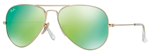 Ray Ban RB3025 Aviator Large Metal Matte Gold w/ Crystal Green Mirror Multi. Light Green