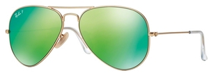 Ray Ban RB3025 Aviator Large Metal Matte Gold w/ Green Mirror POLAR Lenses