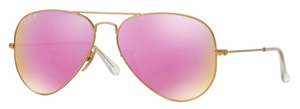 Ray Ban RB3025 Aviator Large Metal Matte Gold with Polarized Brown Mirror Fucsia Lenses