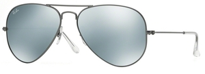 Ray Ban RB3025 Aviator Large Metal Matte Gunmetal w/ Green Mirror Silver Lenses