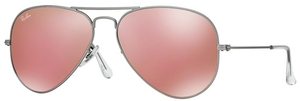 Ray Ban RB3025 Aviator Large Metal Matte Silver w/ Brown Mirror Pink Lenses