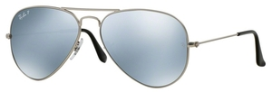 Ray Ban RB3025 Aviator Large Metal Matte Silver with Polarized Crystal Silver Mirror Lenses