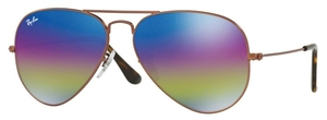 Ray Ban RB3025 Aviator Large Metal Metallic Dark Bronze with Light Grey Mirror Rainbow 2 Lenses