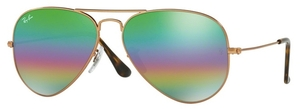 Ray Ban RB3025 Aviator Large Metal Metallic Medium Bronze with Light Grey Mirror Rainbow 2 Lenses
