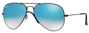 Ray Ban RB3025 Aviator Large Metal Shiny Black with Mirror Gradient Blue Lenses