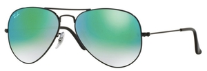 Ray Ban RB3025 Aviator Large Metal Shiny Black with Mirror Gradient Green Lenses