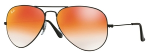Ray Ban RB3025 Aviator Large Metal Shiny Black with Mirror Gradient Red Lenses