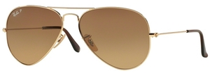 Ray Ban RB3025 Aviator Large Metal Shiny Gold w/ Crystal POLAR Brown Gradient Lenses