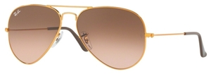 Ray Ban RB3025 Aviator Large Metal Shiny Light Bronze with Pink Gradient Brown Lenses