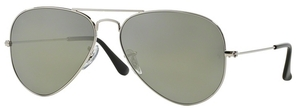 Ray Ban RB3025 Aviator Large Metal Silver w/ Crys.POLAR Green Silver Mirror Lenses