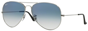 Ray Ban RB3025 Aviator Large Metal Silver w/ Crystal Gradient Light Blue Lenses