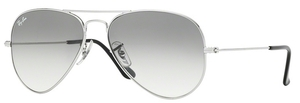 Ray Ban RB3025 Aviator Large Metal Silver w/ Crystal Grey Gradient Lenses