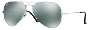 Ray Ban RB3025 Aviator Large Metal Silver w/ Crystal Grey Mirror Lenses W3277