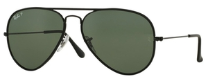 Ray Ban RB3025JM Black with Crystal Polarized Green Lenses