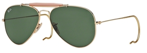 Ray Ban RB3030 (Outdoorsman) Arista with Crystal Green Lenses L0216