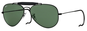 Ray Ban RB3030 (Outdoorsman) Black with Crystal Green Lenses  L9500