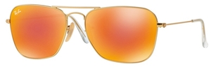 Ray Ban RB3136 (Caravan) Matte Gold with Brown Mirror Red Lenses
