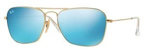 Ray Ban RB3136 (Caravan) Matte Gold with Grey Mirror Blue Lenses