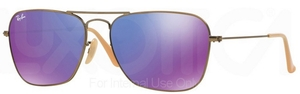 Ray Ban RB3136 (Caravan) Brushed Bronze Demi Shiny w/ Grey Mirror Purple Lenses  167/1M
