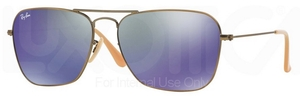 Ray Ban RB3136 (Caravan) Demiglos Brushed Bronze w/ Blue Mirror Lenses  167/68