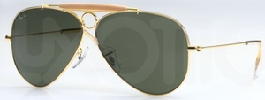 Ray Ban RB3138 (Shooter) Arista Gold with Crystal Green Lenses