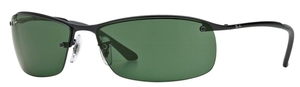 Ray Ban RB3183 (Top Bar) Matte Black with Green Lenses