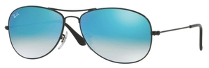 Ray Ban RB3362 Cockpit Shiny Black with Crystal Blue Gradient Lenses