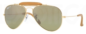 Ray Ban RB3422Q Arista Gold/Light Brown Leather with Polarized Crystal Green/Silver Mirror Gradient Lenses